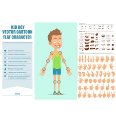Cartoon flat funny sport boy character set vector
