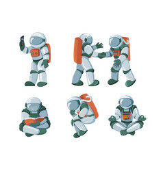 cartoon spaceman cosmonaut spacesuit set vector image