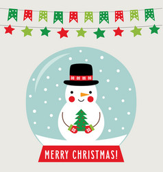 christmas glass ball with snowman greeting card vector image