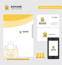 christmas shopping bag business logo file cover vector image