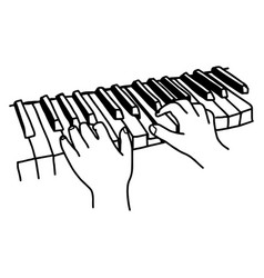 Closeup hands playing the keyboard or piano vector