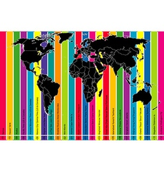 Colorful background with world map and time zones vector image vector image