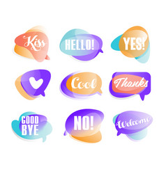 colorful transparent speech bubbles with short vector image