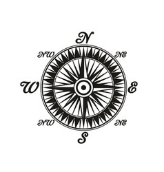 Compass vintage monochrome symbol with world sides vector