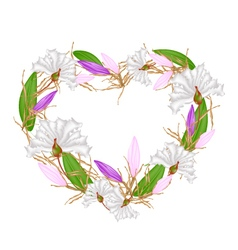 Crape Myrtle and Equiphyllum in Heart Shape vector image