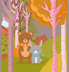 cute bear and rabbit animal forest hello autumn vector image