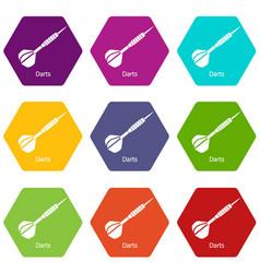 Darts icons set 9 vector