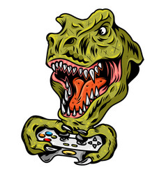 dinosaur gamer which play game vector image