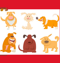 dogs or puppies cartoon characters collection vector image