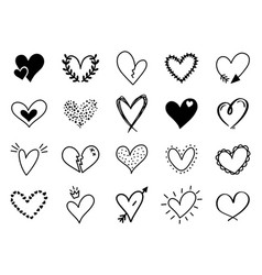 doodle love heart loving cute hand drawn sketched vector image