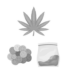 Drug addiction and attributes monochrome icons in vector