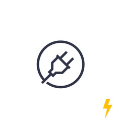 Electric plug electrical power line icon vector