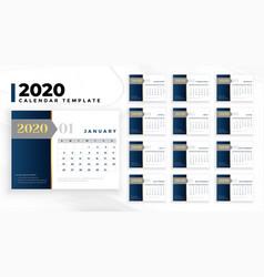 Elegant professional 2020 business calender vector