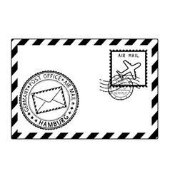Envelope black icon with postmarks hamburg vector