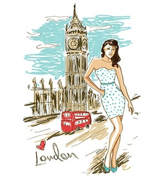 Fashion girl in London vector image