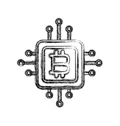 Figure bitcoin currency sign with circuits network vector