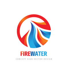 fire water waves logo template design element vector image