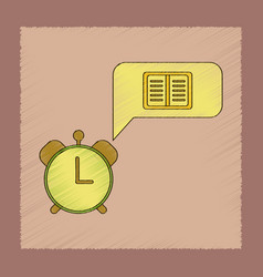 Flat shading style icon book alarm clock vector