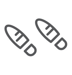 Footsteps line icon shoe and imprint footprint vector