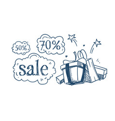 gift purchases packages shopping sale concept vector image