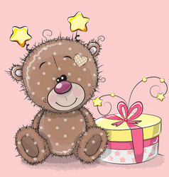 Greeting card cute teddy bear with gift vector