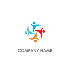 group unity diversity people logo vector image
