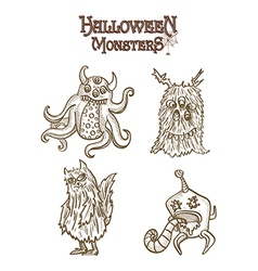 Halloween Monsters spooky elements set EPS10 file vector
