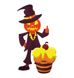 Halloween sweet cupcake and pumpkin costume vector