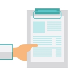 Hand holding clipboard with blank sheet of paper vector