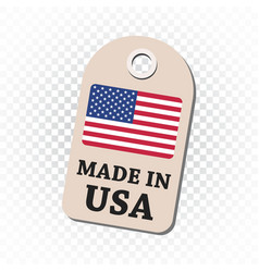 hang tag made in usa with flag on isolated vector image