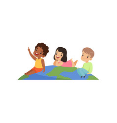 Happy multicultural little kids having fun on top vector