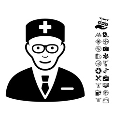 Head physician icon with copter tools bonus vector