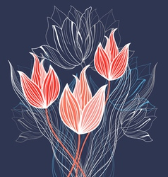 Holiday tulips vector