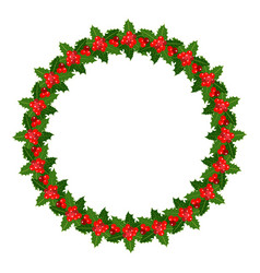 holly christmas wreath frame vector image
