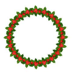 holly christmas wreath frame vector image