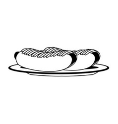 hot dogs on dish in black and white vector image