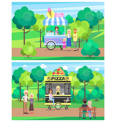 Ice cream and pizza wagons vector