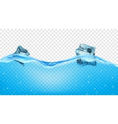Ice cubes in transparent blue waves vector