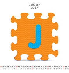 January 2017 puzzle calendar vector image
