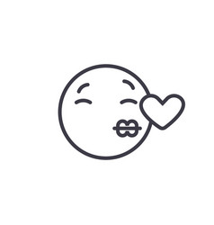 kissing emoji concept line editable vector image