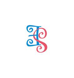 letter es curves spiral overlap linked colorful vector image