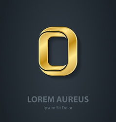 Letter O elegant gold font Template for company vector image