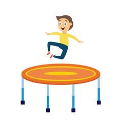 Little boy jumping on trampoline - happy cartoon vector