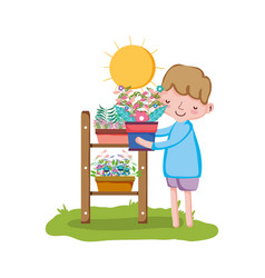 little boy lifting houseplant with shelf in the vector image