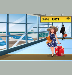 Little kid traveling in the airport vector