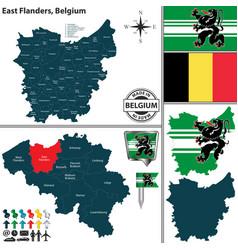 Map of east flanders belgium vector
