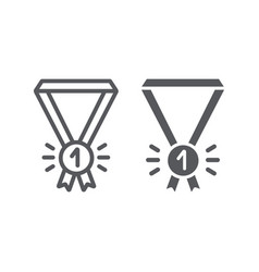 medal line and glyph icon badge and award first vector image