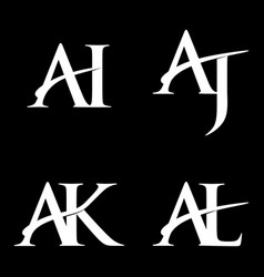 Monogram logo design ai-aj-ak-al vector