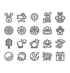 moon festival icon set vector image