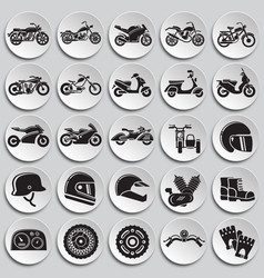 Motorcycle icons set on plates background for vector
